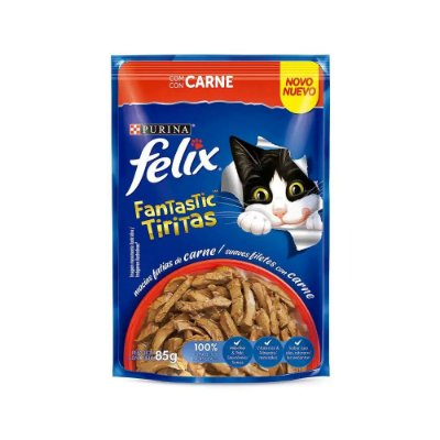 Felix Sachê Fantastic Tiritas sabor Carne 85g