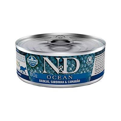 N&D Ocean para Gatos sabor Badejo, Sardinha e Camarão 80g