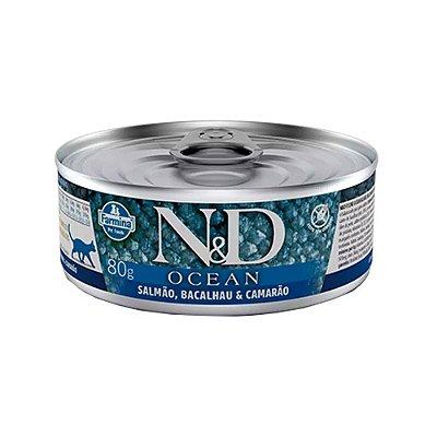 N&D Ocean para Gatos sabor Salmão, Bacalhau e Camarão 80g