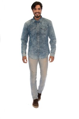Camisa Masculina Jeans Clara Poá