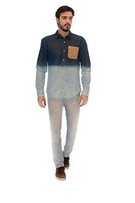 Camisa Masculina Jeans Tie Die