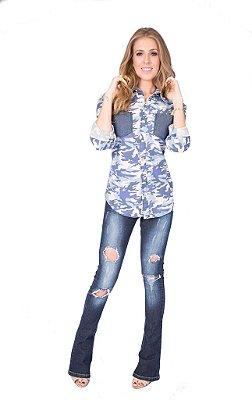 Camisa Feminina Camuflada Azul