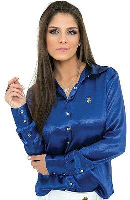 Camisa Feminina Básica Azul klein