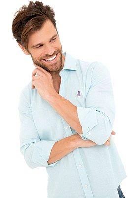 Camisa Masculina De Linho Azul Claro