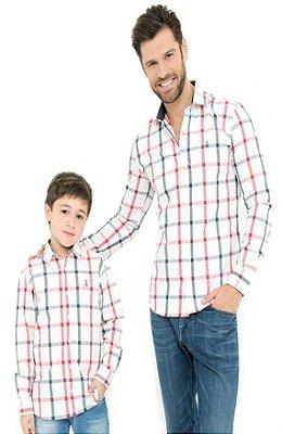 Camisa Masculina Infantil Xadrez