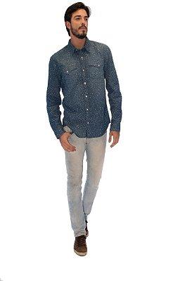 Camisa Masculina Jeans Escuro Poa