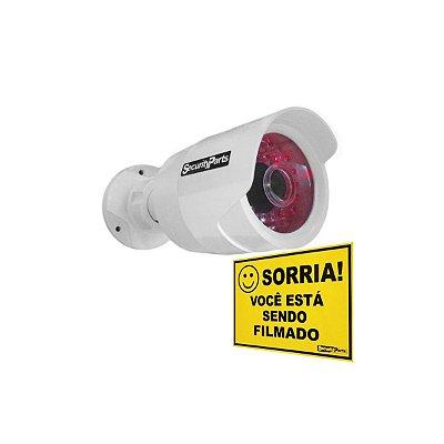 Câmera Security Parts Bullet Falsa Branca c/ Led Bivolt