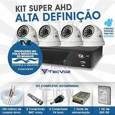 KIT DOME SUPER AHD ALTA DEFINIÇÃO 4 CANAIS COM 4 CÂMERAS TECVOZ TVZ COMPLETO
