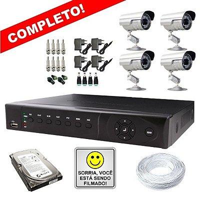 KIT COMPLETO DVR STAND ALONE 4 CANAIS - P2P/NUVEM + 4 CÂMERAS INFRAVERMELHO + FONTES + CONECTORES + HD + CABO