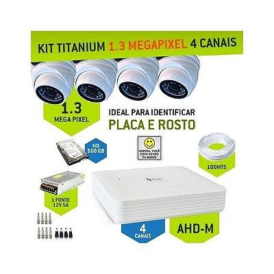 KIT DOME TITANIUM AHD-M COM 4 CANAIS ALIVE - ALTA DEFINIÇÃO EM 1.3 MEGAPIXEL
