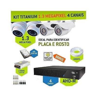 KIT MISTO TITANIUM AHD-M COM 4 CANAIS TVZ - ALTA DEFINIÇÃO EM 1.3 MEGAPIXEL