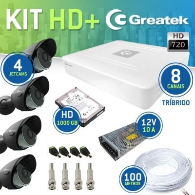 KIT AHD POWER GREATEK 8 CANAIS + 4 CÂMERAS JETCAM 720P