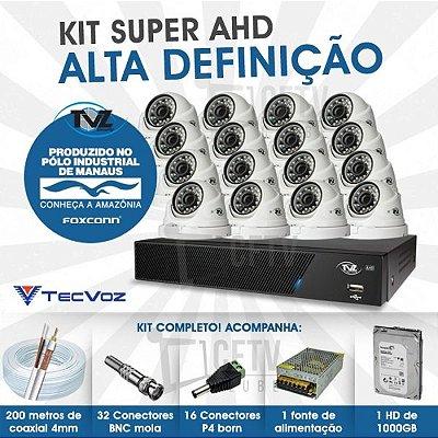 KIT DOME SUPER AHD ALTA DEFINIÇÃO 16 CANAIS COM 16 CÂMERAS TECVOZ TVZ COMPLETO