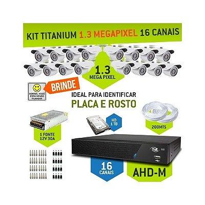 KIT TITANIUM AHD-M COM 16 CANAIS - ALTA DEFINIÇÃO EM 1.3 MEGAPIXEL