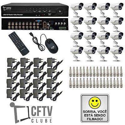 KIT DVR STAND ALONE 16 CANAIS - P2P/NUVEM + 16 CÂMERAS INFRAVERMELHO + FONTES + CONECTORES