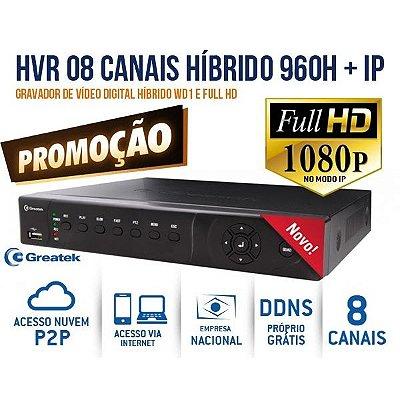 DVR GREATEK HÍBRIDO WD1 960H+IP 8 CANAIS P2P