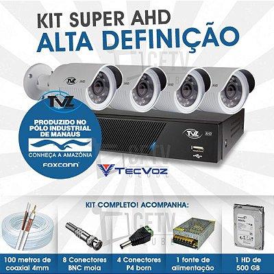 KIT SUPER AHD ALTA DEFINIÇÃO 4 CANAIS COM 4 CÂMERAS TECVOZ TVZ COMPLETO