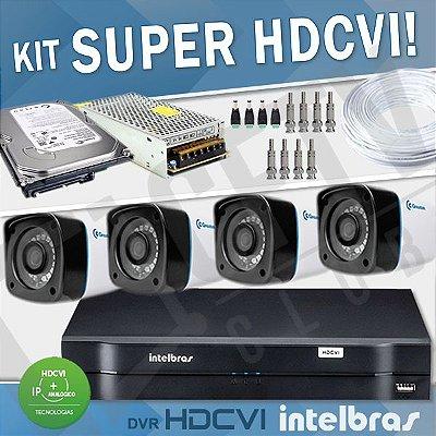 KIT HDCVI COM DVR INTELBRAS 4 CANAIS - COM CÂMERAS SUPER HDCVI
