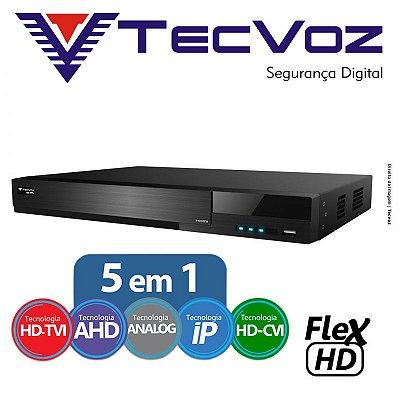 DVR 8 CANAIS STAND ALONE TECVOZ FLEX 5 EM 1 HD-TVI / AHD / CVBS / IP