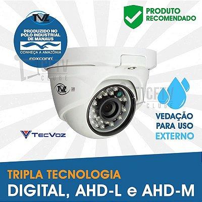 CÂMERA DOME SUPER AHD TECVOZ TVZ TRIPLA TECNOLOGIA - ALTA DEFINIÇÃO