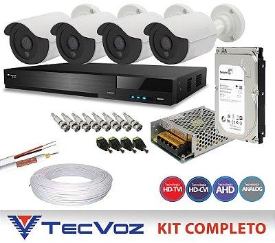 KIT FLEX HD TECVOZ 4 CANAIS COM 4 CÂMERAS 4 EM 1 COMPLETO