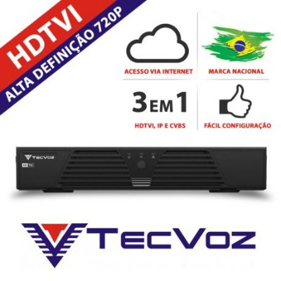 DVR 4 CANAIS STAND ALONE TECVOZ HDTVI HIBRIDO- T1-LTVI04