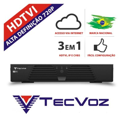 DVR 8 CANAIS STAND ALONE TECVOZ HDTVI HIBRIDO- T1-LTVI08