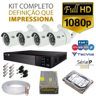 KIT TVZ TECVOZ 4 CÂMERAS FULL HD - SERIE P3004