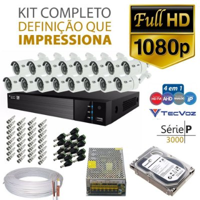 KIT TVZ TECVOZ 16 CÂMERAS FULL HD - SERIE P3016