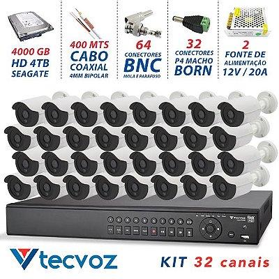 KIT FLEX HD TECVOZ 32 CANAIS COM 32 CÂMERAS 4 EM 1 COMPLETO