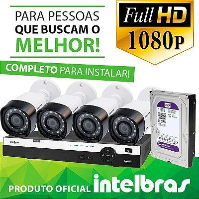 KIT FULL HD INTELBRAS 4 CANAIS - 1080P - COMPLETO