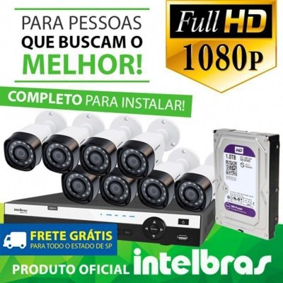 KIT FULL HD INTELBRAS 8 CANAIS - 1080P - COMPLETO