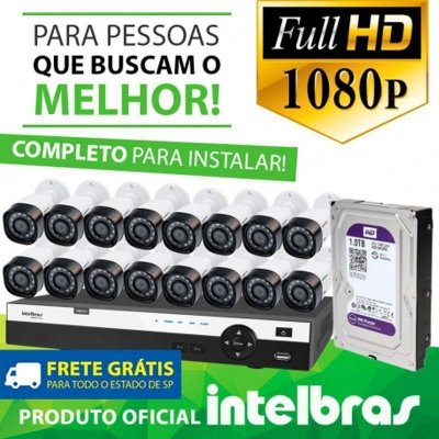 KIT FULL HD INTELBRAS 16 CANAIS - 1080P - COMPLETO