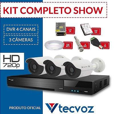 Kit Tecvoz Completo em Alta Definição - 3 câmeras int/ext HD