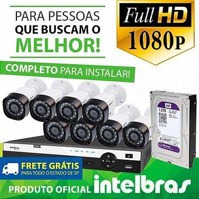 Kit Monitoramento Profissional Completo Intelbras Alta Denifição Full HD 8 Canais de Vídeo com 8 Câmeras Full HD 1080p