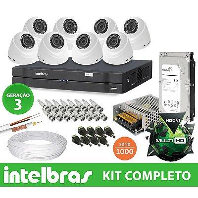 Kit Intelbras Completo Monitoramento Interno Ideal com  8 Câmeras Dome em Alta Definição HD