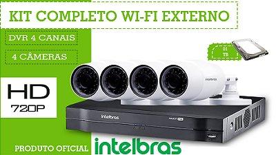 Kit Completo Intelbras WI-FI sem fio Externo - 4 Câmeras
