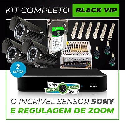 Kit Completo de Monitoramento com 3 Câmeras Varifocais Giga Security Black Vip