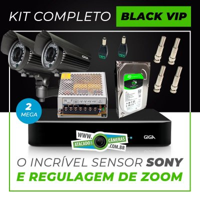 Kit Completo de Monitoramento com 2 Câmeras Varifocais Giga Security Black Vip