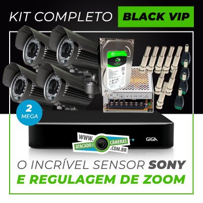 Kit Completo de Monitoramento com 4 Câmeras Varifocais Giga Security Black Vip