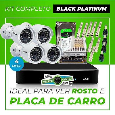 Kit Completo de Monitoramento CFTV com 4 Câmeras Open HD 4 Mega Giga Security Black Platinum