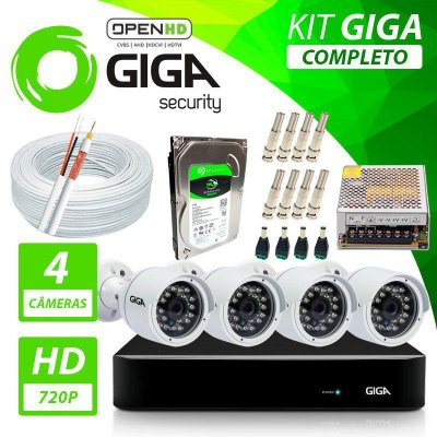 Kit Completo de Monitoramento com 4 Câmeras Open HD Giga Security