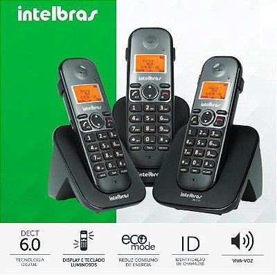 Telefone Intelbras sem fio com dois ramais adicionais - TS 5123