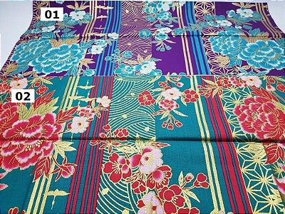 Flores em Listras. Tecido Japonês 100% Algodão (50x55cm)
