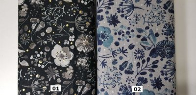 Golden/Silver Flower. Tecido em Algodão+Linho (cotton linen) Japonês (50x110cm)