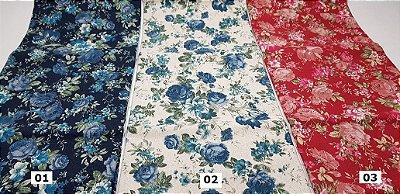 Flowers-08. Tecido em Algodão+Linho Japonês  (50x110cm)