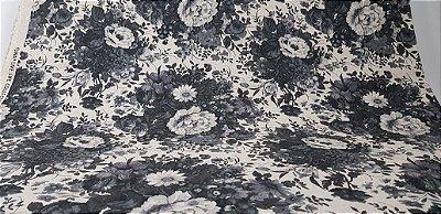 Flowers-08. Black & White. Algodão+Linho (Cotton Linen) Japonês. AA074 - (50x110cm)