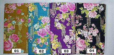 Floral Texturizado. Tecido Japonês Douradinho  50 x55cm