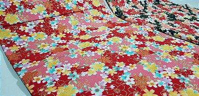 Floral. Tecido Japonês Douradinho.  50cm x 55cm