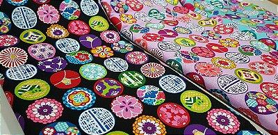 Colour Balls. 100% Algodão Japonês.  TI030-50cm x 55cm